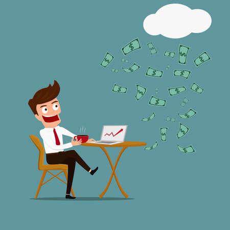 ビジネスの男性がリラックスして受動的所得概念。漫画のベクトル図です。  イラスト・ベクター素材