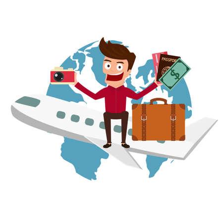 World Travel. Man travel around the world by airplane.Cartoon Vector Illustration