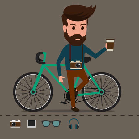 Hipster character with bicycle. Cartoon Vector Illustration.