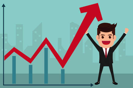 Business man holds in hand to raise the graph. Cartoon Vector Illustration. Illustration