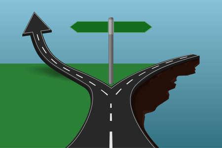 choose a path: Choose the correct or incorrect way concept.