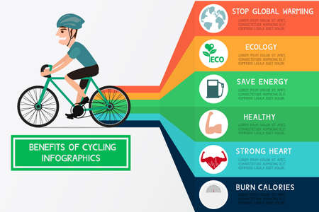 bikes: The benefits of cycling infographics. Cartoon Vector Illustration.