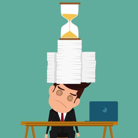 stack of documents: Business man work hard and overload under pressure in urgent deadline. Cartoon Vector Illustration. Illustration
