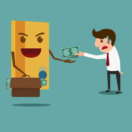 pay money: Business man pay money to credit card . Debt concept. Cartoon Vector Illustration.
