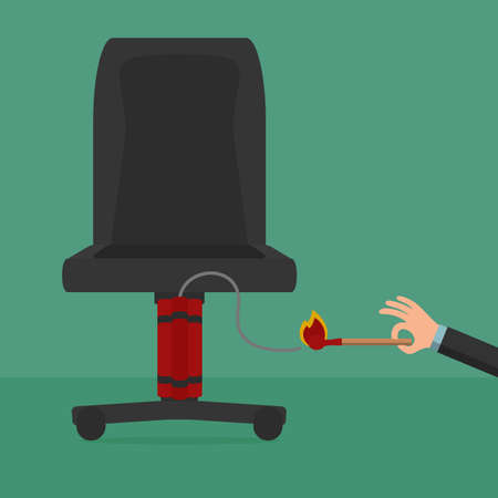 vector chair: Angry employee take a bomb to boss. Cartoon Vector Illustration. Illustration