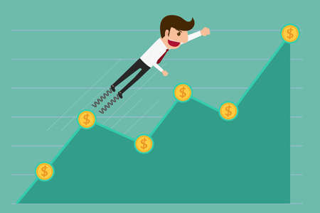 opportunity sign: Business man jump over growth graph. Cartoon Vector Illustration.