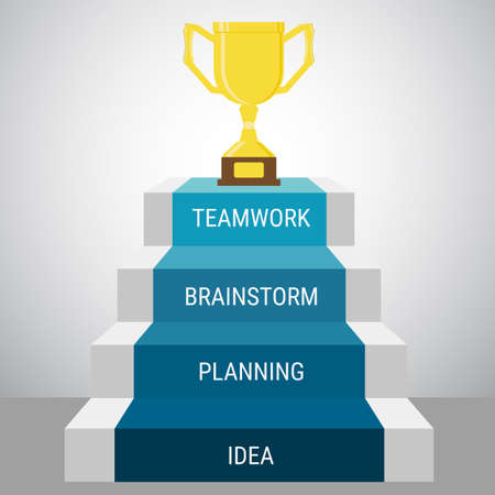 Úspěch: Schodiště krok jít do Trophy a success.Success pojetí. Cartoon vektorové ilustrace. Ilustrace