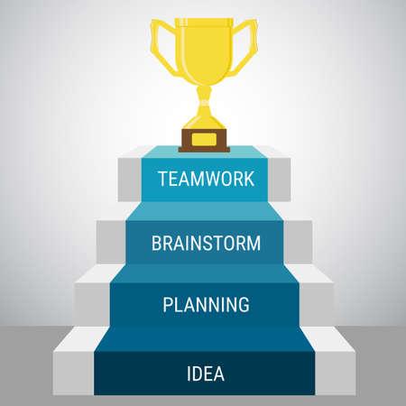 Erfolg: Treppenstufe gehen Trophy und success.Success Konzept. Cartoon Vektor-Illustration.