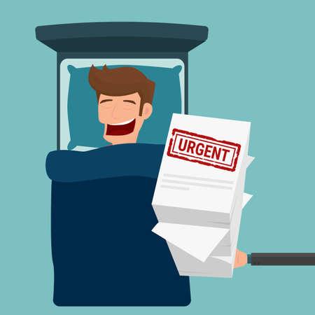 home finances: Businessman get urgent job during sleeping time. Cartoon Vector Illustration.