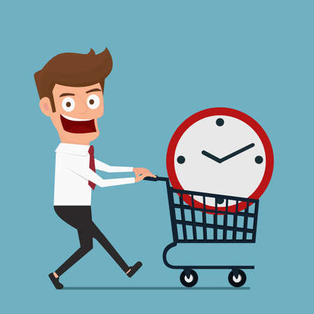 buy time: Businessman with clock in shopping cart . Buy time concept. Cartoon Vector Illustration.