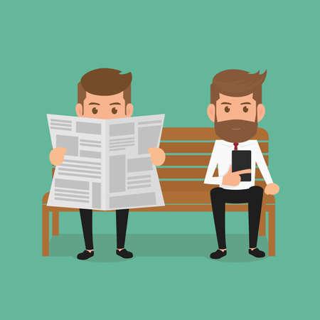 periodicos: Hombre de negocios que lee el periódico y el uso de teléfonos inteligentes. Ilustración de la historieta del vector. Vectores