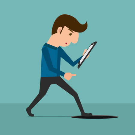 dangers: Smartphone addiction . A man looking at smartphone and walking to manhole. Cartoon Vector Illustration.
