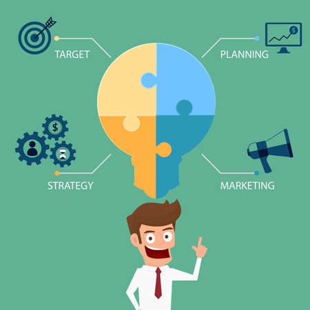 Light bulb idea puzzle business success concept infographics template. Cartoon Vector Illustration Illustration