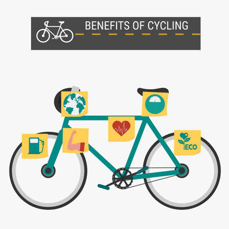 biking: The benefits of cycling, infographics. Cartoon Vector Illustration.