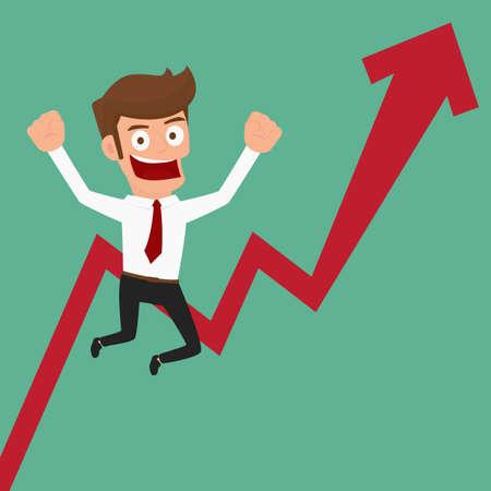 glad: Businessman glad arrow growing chart. Cartoon Vector Illustration.