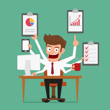 talent management: Businessman multitasking works  with more arms. Management and multitasking. Cartoon Vector Illustration. Illustration