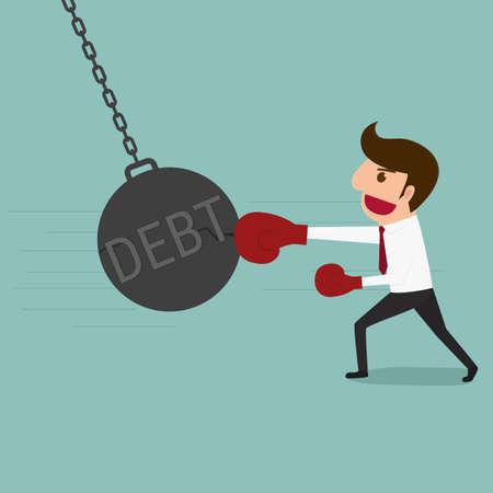pendulum: Business man punch big pendulum debt. Cartoon Vector Illustration.