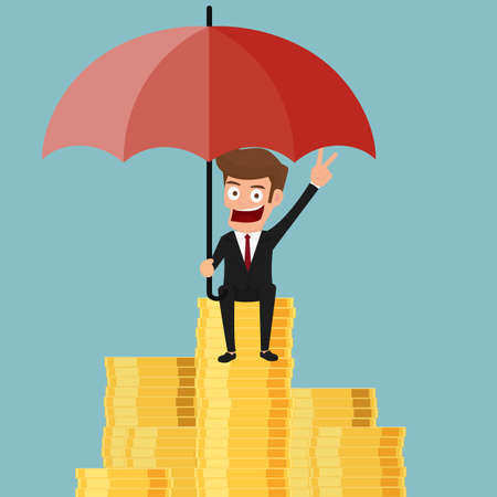 Businessman sitting on money stack holding umbrella protecting his money to investments. Cartoon Vector Illustration.