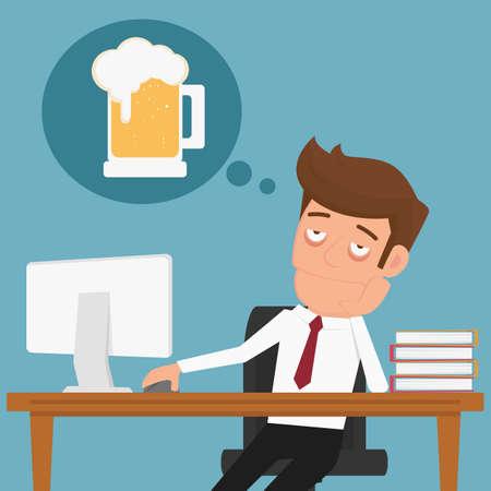 휴식과 맥주에 대해 생각 피곤 된 사업가. 만화 벡터 일러스트 레이 션.