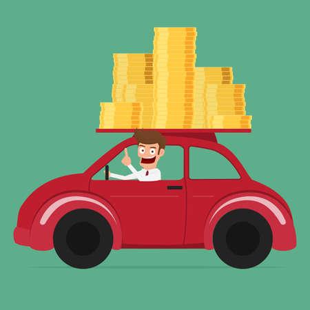 car driving: Business man driving a car full of money. Cartoon Vector Illustration.