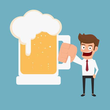 Businessman holding beer. Cartoon Vector Illustration. Stock Illustratie