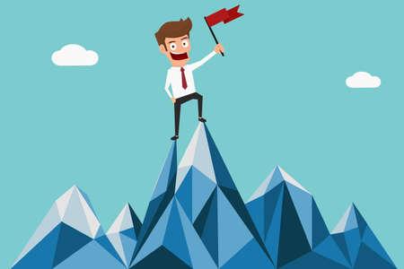 Úspěšný podnikatel drží vlajku na vrcholu hory. Úspěch koncept. Cartoon vektorové ilustrace.