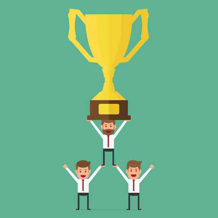 teamwork cartoon: Successful business team holding trophy. Teamwork concept. Cartoon Vector Illustration. Illustration