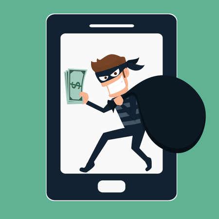 telefono caricatura: Ladrón. Hacker robo de dinero en el teléfono inteligente. Ilustración de la historieta del vector. Vectores