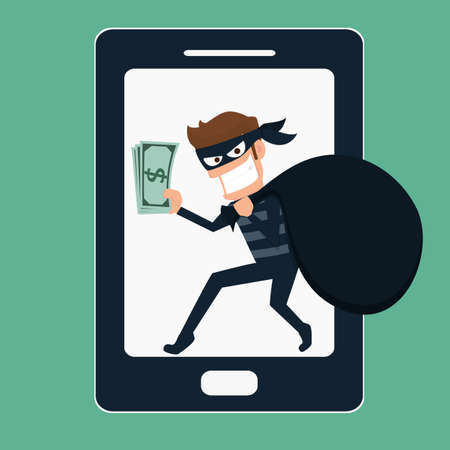 burglar man: Thief. Hacker stealing money on smart phone. Cartoon Vector Illustration.