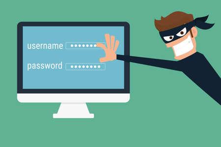 computadora caricatura: Ladrón. Hacker robar datos confidenciales como contraseñas desde un ordenador personal útil para campañas anti-phishing y virus de Internet. concepto de piratería red social de Internet. Ilustración de la historieta del vector. Vectores