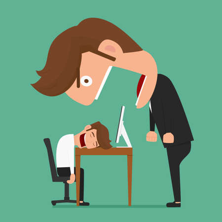 exhausted worker: Big boss angry businessman was asleep during work. Cartoon Vector Illustration.