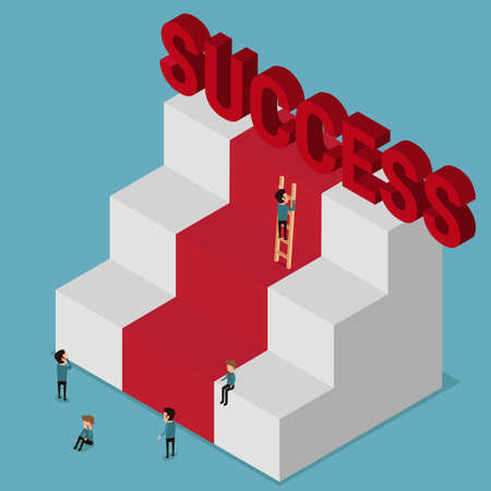 success concept: Flat 3d isometric. Different people try to success. Stairs to success. Metaphoric obstacle. Cartoon Vector Illustration.