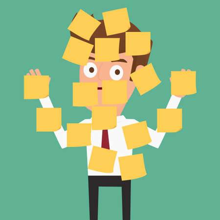 him: Businessman with sticky notes all over him. Cartoon vector Illustration.