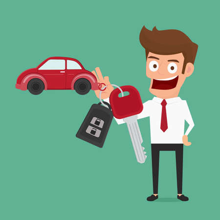 automobile insurance: Businessman holding the key ring. Car rental or sale concept. Cartoon Vector Illustration. Illustration