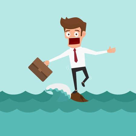 大きな波と海の真ん中に岩の上に立っているビジネスマン。リスクの概念。漫画のベクトル図です。