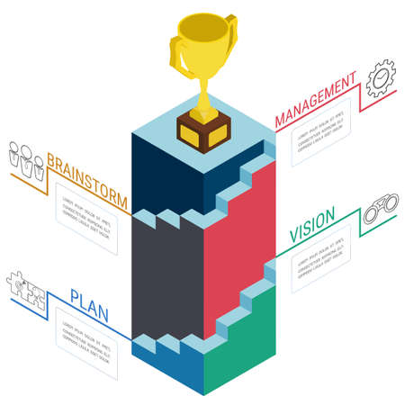 business success concept: 3d stairs step to trophy and success. Business success concept infographic template.Can be used for workflow layout, banner, diagram, web design. Vector Illustration. Illustration