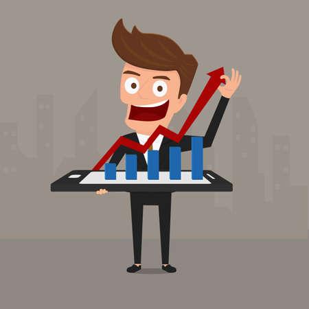 Business man shows increasing bar chart on smart phone. Cartoon Vector Illustration.