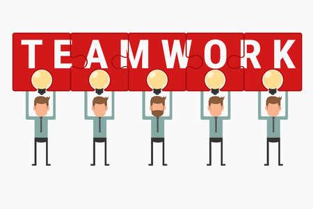 teamwork cartoon: Business team hold and showing puzzle teamwork above light bulb idea. Cartoon Vector Illustration.