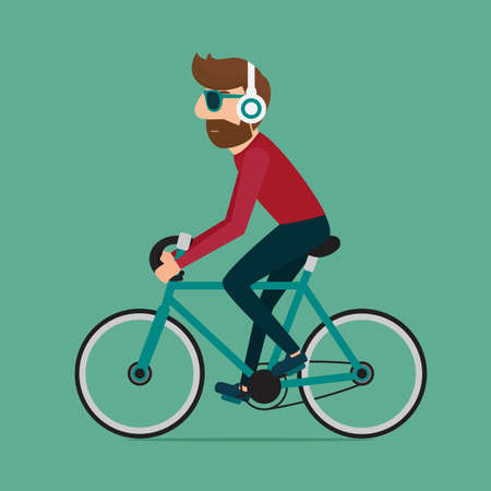 Man riding bike. Hipster character on bicycle. Cartoon Vector Illustration. Stock Illustratie