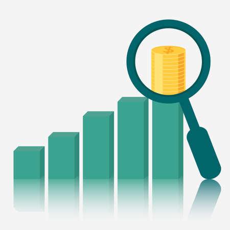 Magnifying glass focus money on raising charts. Vector Illustration. Illustration