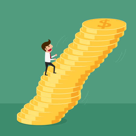 unstable: Business man walking up on money stack,  risk and being unstable. Cartoon Vector Illustration.