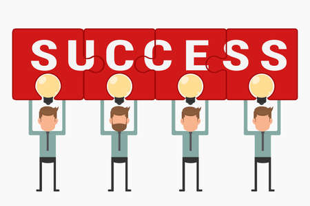 business team: Business team hold and showing puzzle success above light bulb idea. Cartoon Vector Illustration.
