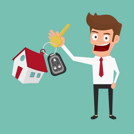 Empresario sosteniendo el llavero. Concepto de bienes raíces Ilustración de dibujos animados Vector