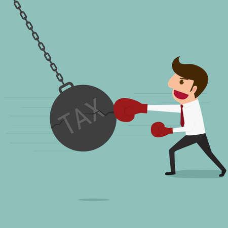 taxes: Business man punch big pendulum tax. Cartoon Vector Illustration.