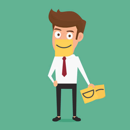 Businessman hiding real emotion behind smile sticky notes. Cartoon Vector Illustration.
