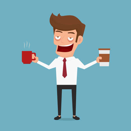 drowsiness: Businessman drowsiness want to drink coffee. Coffee addicted. Cartoon Vector Illustration.