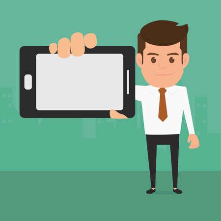 hombre caricatura: Hombre de negocios que muestra el teléfono inteligente. Ilustración de la historieta del vector. Vectores