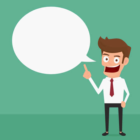 business confidence: Businessman Speech bubble. Cartoon Vector Illustration. Illustration