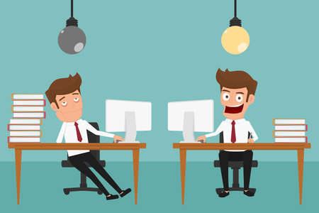 no idea: Two businessman are different have idea and  have no idea. Cartoon Vector Illustration.