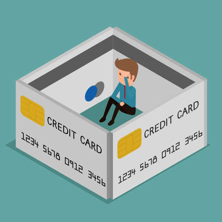Flat 3D isometric. Businessman very upset .Credit card encircled. Debt concept. Cartoon  Vector Illustration. Ilustrace